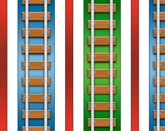 "Thomas The Train, Thomas The Tank Engine: Thomas & Friends Color Express Railroad Stripe Multi 100% cotton fabric by the yard 36""x44"" (A132)"