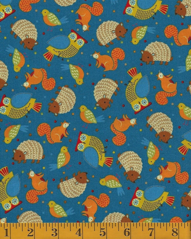 Nursery fabric light denim tossed camp cozy squirrel for Bird nursery fabric