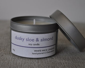 dusky sloe & almond soy wax candle, candle tin, container candle, room fragrance, hand-poured, birthday gift, new home gift, wedding favour