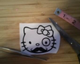 Fancy Moustache Kitty Fun Vinyl Decal