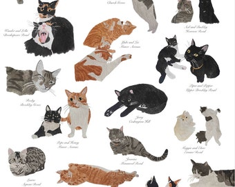 Cats of Brockley, A3 size - Limited Edition (100)