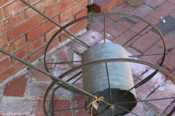 Vintage Green Metal Hose Reel