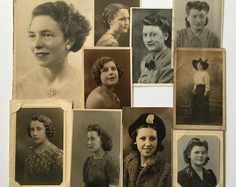 10 x vintage studio portraits of British women - 1910's to 1950's
