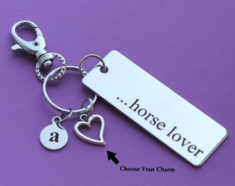 Personalized Equestrian Key Chain Horse Lover Stainless Steel Customized with Your Charm & Initial -K156