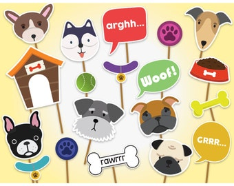 Printable Dog Party Photo Booth Props, Printable PDF, Puppy Photobooth Props, Dog Birthday Party, Printable Dog Masks, Printable Dogs Props