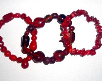Red Glass Bracelet trio