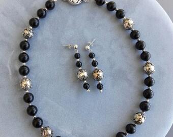 Elegant Black Onyx/Bali-Style Sterling Silver Beaded Necklace & Post Earrings Set