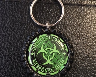 Zombie Bottle Cap Keychains