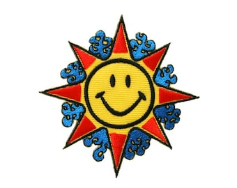 Sun Patch Smile Smiley Face Embroidered Applique Iron on Patch 7.5 cm. x 7.7 cm.
