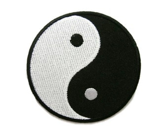Black & White Yin Yang Peace Sign Symbol Embroidered Applique Iron on Patch 7.5 cm. x 7.5 cm.