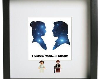 I love you ... I know Star Wars 3D lego frame Princess Leia Han Solo couple ideal gift and personalise for FREE