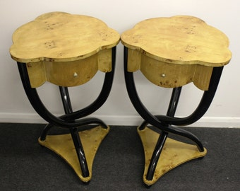 Pair of ART DECO STYLE Cross Legged Tables With Drawers - In Walnut - Home C6