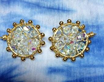 Gilding and swarovsky crystal earrings