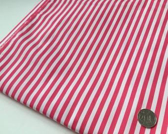 Fuschia White Stripes 100% Cotton Fabric
