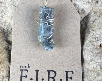 Blue Apatite Wrapped Pendant