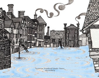 Victorian Frankwell Under Water: Signed quirky and stylised illustration/art print of a historic building.