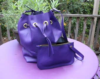 Purple Bucket Bag Leather with Accessory Bag