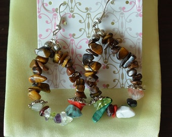Fun Time Tiger eye with Assorted Stone Chip Earrings - G108
