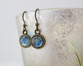 Yellow blue * hand painted * glass cabochon * drop earrings