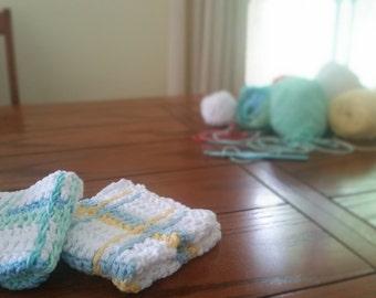 Handmade Crochet Tartan Plaid Dishcloth