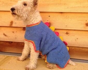 Handmade crochet stegosaurus dog coat