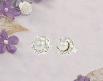Silver and Pearl Stud Earrings