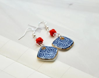 Mud-Q  handmade Porcelain Earring in Chinese Style