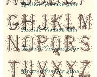 Twig Alphabet Vintage Digital Download