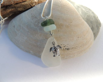 White Scottish Sea Glass Necklace