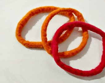 Felted bracelet orange and red merino wool felted bangles set of three Christmas gift anti allergie