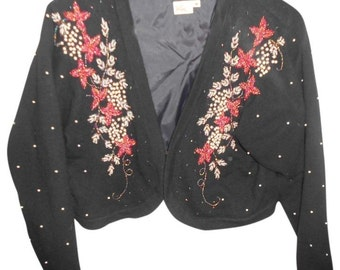 I DID IT ... Beautiful Beaded Sweater Size M