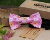 bow tie for men, mens bow tie, bow tie for dad, floral bow tie, pink, pink bow tie, nice bow tie, cotton bow tie, trandy bow tie, modern tie