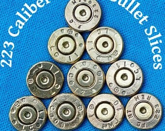 223 Cal. Bullet Slices For DIY Bullet Jewelry - Machine Cut And Polished Bullet Casings - Lot Of 10