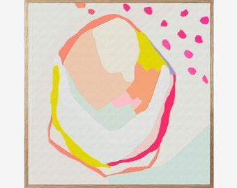 Abstract Art Print, Abstract Pink Orange Grey White, Mid Century Modern, Modern Abstract Art, Landscape Wall Art, Minimalist, Art Work 16x16