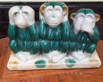 Vintage Ceramic Figurine 3 monkey See Hear Speak No Evil