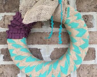 Turqoise chevron wreath with purple accent
