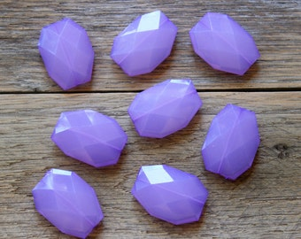 8 PCS Large Faceted Purple Translucent Beads, 39mm x 29mm x 7mm, Jewelry Making Supplies, Statement Beads