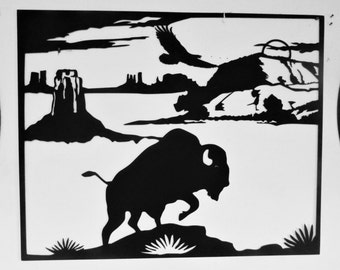 Buffalo, Native American, Wall Hanging, Metal Art, Bison, Western, Southwest, Cowboy, Steel