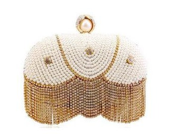 Gold and Pearl Clutch