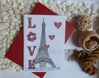 Eiffel Tower Greeting Card, Paris, Love, City of Love, Romantic, A6