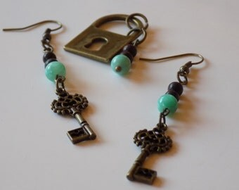 Brass Lock and Key with Turquoise Beads Earring and Pendant Set