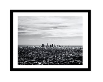 Los Angeles Print, Printable Photo, Black and White Photography, Los Angeles Art, Instant Download, Los Angeles Skyline, Fine Art Photograph
