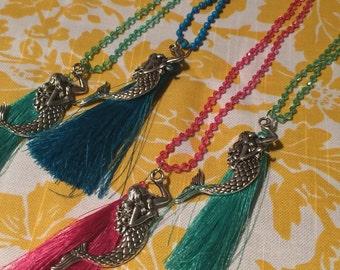 Daphne- Mermaid charm tassel necklace