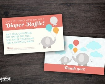 Elephant Baby Shower Thank You & Diaper Raffle Cards - Matching Invitation or Shower Games Set Sold Separately