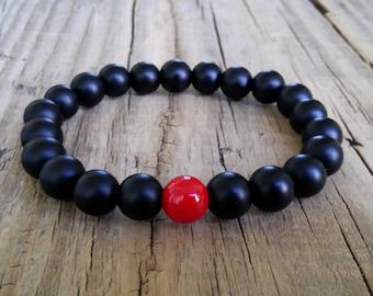 Black shungite bracelet with red coral stone bead – shungite coral gemstone stretch bracelet – love friendship healing protection bracelet