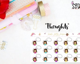 Girl with Thought bubbles - Planner Stickers