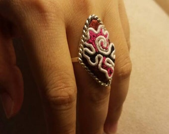 Embroidered Handmade Adjustable statement ring