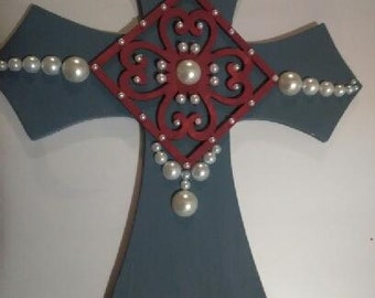 Blue/Gray Pearled Wall Cross
