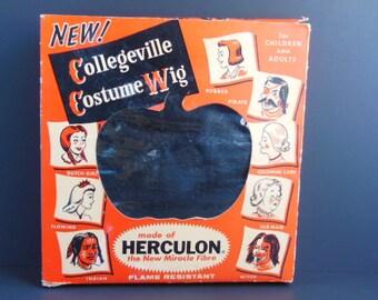 1950's Halloween Wig, Black Halloween Wig, Collegeville Halloween Costume Wig, Original Collegeville Box, Vintage Black Halloween Wig, Rare!