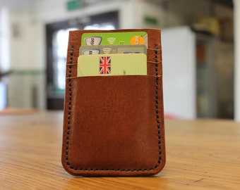 "Hand made 3 slot slim cardholder in ""Fleet street"" brown"